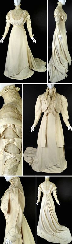 Dress & coat ensemble, J. Franken, Brooklyn, 1910. Ivory cashmere with silk embroidery & ivory net inset with appliquéd lace. Cutouts on sleeves with lace undersleeves & turned-back cuffs. Silk cummerbund with tails down side that show through cashmere slide in skirt. Sweeping train with underskirt in taffeta & cashmere. Matching 18th century-style coat has stand collar with chenille bows & silver tips. Woven silk-covered button decoration. All lined in ivory silk. Boned bodice. Vintage…