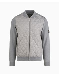 Barbour - Quilted Front Zip Knitted Jumper - Grey