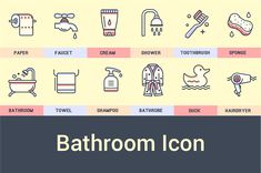 Bathroom Icon Collection by Crocolot on @creativemarket
