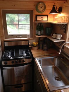 A 210 square feet tiny house on wheels in Bonners Ferry, Idaho. Built by Little Foot Tiny Homes.