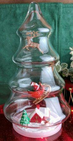 Glass Christmas Tree Jar Diorama Assemblage Handmade w Vintage Santa & Sleigh Christmas Tree Jar, Christmas Scenes, Vintage Santas, Vintage Christmas, Santa Sleigh, Xmas Crafts, Favorite Holiday, Diorama, Christmas Decorations