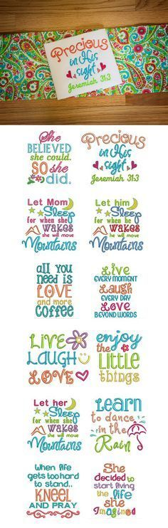 Sweet Sayings Set 2 embroidery design set available for instant download at designsbyjuju.com
