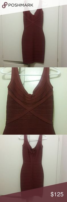 HERVE LEGER DRESS  XS Bottom priced!! Brown cocktail or evening dress, barely worn in great condition. Dresses