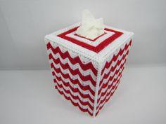 Chevron Tissue Box Cover, Red White Gift, room decor, handmade tissue box cover, plastic canvas, red white chevron, women's gift - pinned by pin4etsy.com