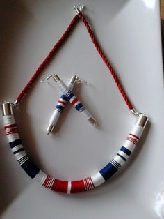 African (tribal) style necklace and earrings (gift), handmade wrapped,colorful,rope necklace, summer necklace, jewellery, tube necklace, by machama on Etsy