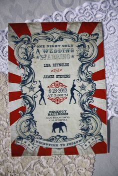 Vintage Carnival Wedding Invitation & Response Card (Gorgeous Circus Invite INSTANT DOWNLOAD Printable) Red, Blue and White