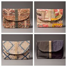 Pochettes…various vintage fabrications. In my web shop now with free shipping