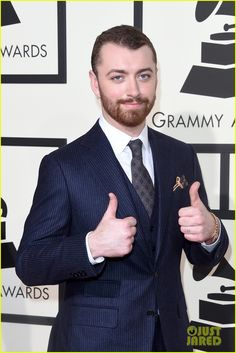 Sam Smith Gives Two Big Thumbs Up at the Grammys 2016!: Photo #929649. Sam Smith puts on his finest for the red carpet at the 2016 Grammy Awards held at the Staples Center on Monday (February 15) in Los Angeles.    The 23-year-old entertainer's…