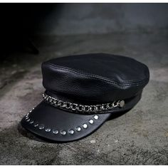 Black Leather Studded Steam Punk Rock Fashion Military Army Cap Hat SKU-71108067
