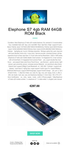 Elephone S7 4gb RAM 64GB ROM Black Unlock Screen, Multi Touch, 4gb Ram, Light Sensor, Dual Sim, Black, Black People