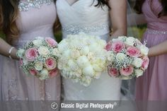 Stunning bridal bouquets composed of blush and cream roses and finished with pearl embellishments   Classic Digital Photography   villasiena.cc