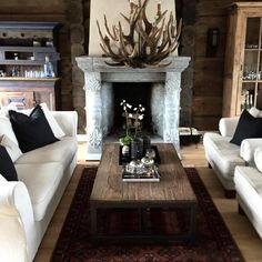 Log Home Decorating A charming resource of log decor suggestions for a wonderful and charming log home decor living rooms rustic Posted posted on 20190227 Transitional Living Rooms, Transitional House, Transitional Fireplaces, Transitional Bathroom, Transitional Lighting, Cabin Homes, Log Homes, Living Room Paint, Living Room Decor