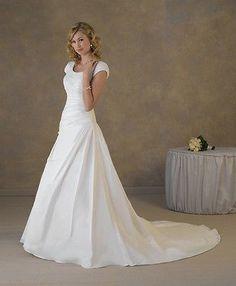 New Modest Short Sleeves Wedding Dress Bridal Gown Custom Size U388