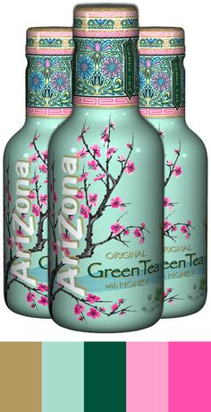 Color palette 'AriZona Green Tea' found at www. Black Packaging, Tea Packaging, Bottle Packaging, Arizona Tee, Arizona Green Teas, My Coffee Shop, Tea Design, Collor, Colour Schemes