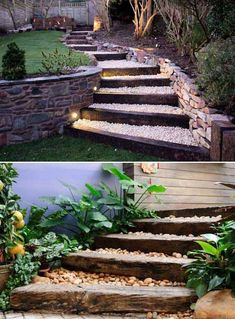 Lovely DIY Garden Pathway Steps On A Slope – Onechitecture - DIY Garten Landschaftsbau Outdoor Steps, Outdoor Landscaping, Outdoor Gardens, Indoor Outdoor, Landscaping Ideas, Backyard Ideas, Outdoor Living, Shade Landscaping, Walkway Ideas