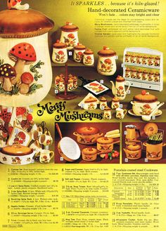 MY COLLECTION GOAL 💞 Sears' Merry Mushrooms, 1973 My grandmother had this set. She always had oatmeal cookies in the cookie jar :) Vintage Kitchenware, Vintage Dishes, Vintage Glassware, Vintage Advertisements, Vintage Ads, Vintage Decor, 1970s Kitchen, Retro Kitchens, Mushroom Decor