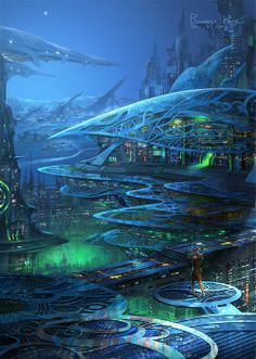 Monopolis City of the Future by Rowena Wang. - - Monopolis City of the Future by Rowena Wang. Future City Real Estate on the Surface, under the Oceans, and in the Sky. Fantasy Kunst, Fantasy City, Fantasy Places, Sci Fi Fantasy, Fantasy World, Fantasy Art Landscapes, Landscape Art, Landscape Designs, Futuristic City