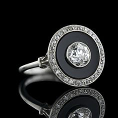 art deco diamond + onyx ring