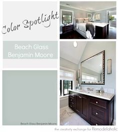 Color Spotlight: Benjamin Moore Beach Glass Beach Glass from Benjamin Moore is one of the most versatile transitional paint colors. See how it works in nearly every room, even with artificial instead of natural light. Benjamin Moore Beach Glass, Benjamin Moore Bathroom, Benjamin Moore Paint, Glass Slipper Benjamin Moore, Palladian Blue Benjamin Moore, Interior Paint Colors For Living Room, Bathroom Paint Colors, Paint Colors For Home, Paint Colours