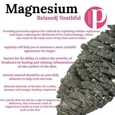 Benefits of magnesium in your skin care CLICK TO SEE MORE #posh #magnesium #relax #youthful #freeradicals #cellrepair #reducebreakouts #mineral