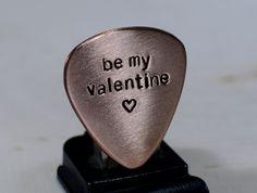 Be my Valentine Copper Guitar Pick | nicilaskin - Music/Instruments on ArtFire