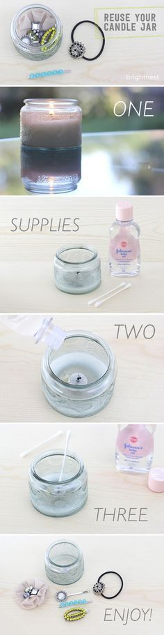 To reuse your pretty jars, try this trick! You can get rid of the wax completely in three easy steps.