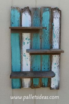 Bathroom Storage & Bathroom Decor: Simple Rustic Pallet Wall Shelf | Pallet Wall Shel...