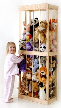Storage area for stuffed animals. Great idea!