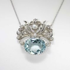 Reserved For L-------------Gorgeous Art Nouveau Aquamarine, Pearl & Diamond Necklace Pearl And Diamond Necklace, Pearl Diamond, Diamond Pendant, I Love Jewelry, Fine Jewelry, Art Nouveau, Antique Jewelry, Vintage Jewelry, Vintage Art Deco Rings