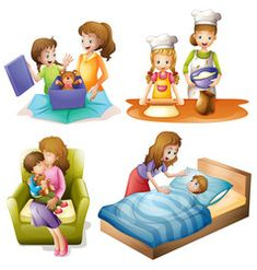 Mother and child doing different activities vector image on VectorStock Hebrew School, Online Lessons, 2d Design, English Vocabulary, Mother And Child, Photo Illustration, Crafts For Kids, Clip Art, Nursery