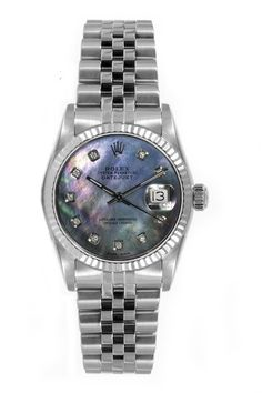 Rolex Women's Datejust Midsize Stainless Steel Fluted Custom Black Mother of Pearl Diamond Dial - Luxury Of Watches
