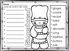 Gingerbread ABC Order FREEBIE! Gingerbread Man Activities, Christmas Activities, Gingerbread Crafts, Gingerbread Men, Winter Activities, 1st Grade Writing, 2nd Grade Reading, Writing Lab, 1st Grade Centers