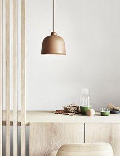 Grain Lamp by Danish designer brand Muuto. Scandinavian dining room inspiration in pale wood.