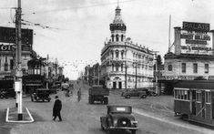 """""""Grand Junction Hotel"""" at St Kilda Junction, - looking S along High St (today Nepean Hwy). Built substantially remodelled Demolished 1973 for High St widening to Carlisle St. Home History, Family History, Melbourne Suburbs, Melbourne Street, Melbourne Victoria, St Kilda, Historical Images, Melbourne Australia, Historic Homes"""