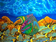 Jean-Baptiste is the world's leading silk painting artist. He specializes in tropical art painted in rich vibrant colours. Art Prints, Silk Painting, Fish Art, Fine Art, Painting, Art, Print Artist, Florida Art, Silk Art