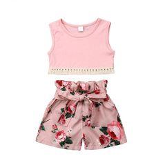 Pink Crop Floral Short
