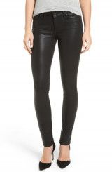 PAIGE Verdugo Coated Ankle Skinny Jeans (Black Fog Luxe Coated) (Nordstrom Exclusive)
