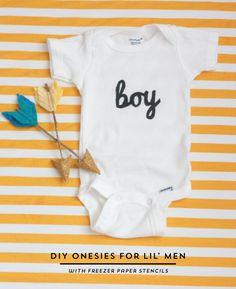 The Alison Show: Lil' Man Onesie Freezer Paper Stencils