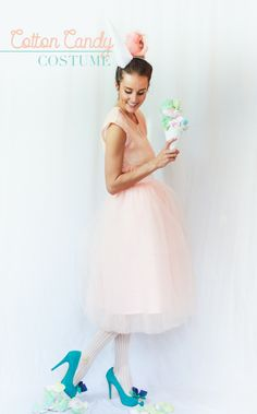 For lovers of all things pink, poofy, and oh-so-sweet, this cotton candy Halloween costume has your name written all over it. Cotton Candy Halloween Costume, Supergirl Halloween Costume, Flamingo Halloween Costume, Modest Halloween Costumes, Mom Costumes, Family Costumes, Creative Halloween Costumes, Costumes For Women, Halloween Diy