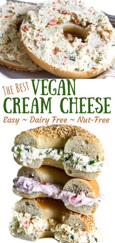 The BEST Homemade Vegan Cream Cheese! The best vegan cream cheese ever! It's nut-free, made with tofu and it tastes like the real deal! Make it in any flavor that you like, and you can even bake with it! Vegan Gluten Free Breakfast, Healthy Dessert Recipes, Healthy Breakfast Recipes, Desserts, Vegan Cheese Recipes, Vegan Cream Cheese Recipe Tofu, Vegan Sauces, Vegan Food, Breakfast Desayunos