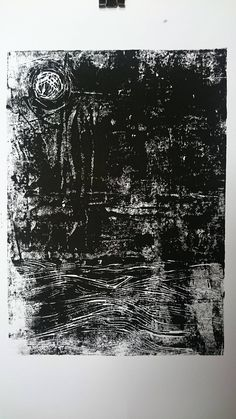 Linoprint, Linocut, Linoldruck, Linoleum, black, white, monochrome, abstract, Moon, Stars, Sea, Ocean, Waves, Night, dark, original