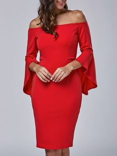 Autumn Flare Sleeve Off-The-Shoulder Dress - RED XL