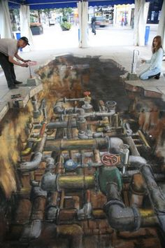 This drawing for Yorkshire Water was never fully finished and did not get beyond this rough stage. It was stopped ironically, by Yorkshire water in the form of heavy Sheffield rain which did not permit its completion. Julian Beever