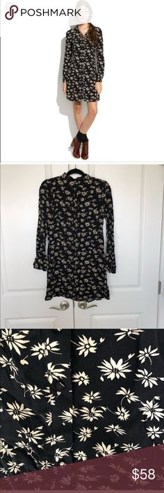 Alexa Chung for Madewell Floral Dress Size S Super cute and adorable button down mini dress from the Alexa Chung for Madewell collection. Covered button placket. Caught marks under arms from wear but unnoticeable on. 100% silk. Madewell Dresses Mini