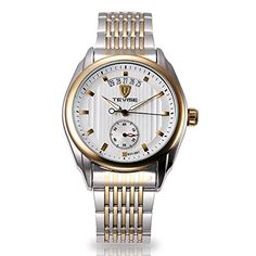 TODDCAHALAN TEVISE Luxury Mens Gold Date Stainless Steel Analog Tourbilon Automatic Mechanical Wrist Watch -- Visit the image link more details.