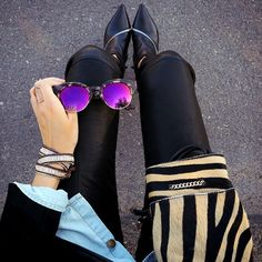 On The Street // Fashion blogger @fashionedchicstyling has nailed this shot featuring my MOTO bracelet in mixed metal