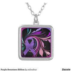 Shop Purple Awareness Ribbon Silver Plated Necklace created by xalondrax. Awareness Ribbons, Swirls, Dog Tag Necklace, Silver Plate, Pendant Necklace, Purple, Floral, Jewelry, Silverware Tray