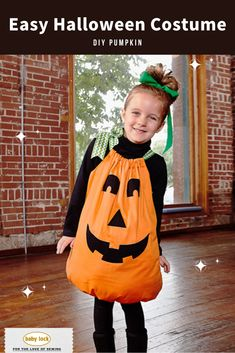 It's not too late to create a memorable, handmade costume for Halloween! This DIY Halloween Pumpkin costume is beginner-friendly and has minimal supplies needed. Easily stitch together two pillowcases and explore appliqué with our free template! 🎃 // Video and project tutorial instructions available!