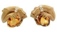 Carrera y Carrera Citrine Diamond Gold Panther Cufflinks
