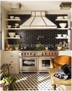 """We have collected some really great Black Subway tiles design to give that modern touch to your kitchen. Checkout Black Subway Tiles In Modern Kitchen Design Ideas"""" and get inspired. Black Subway Tiles, Black Tiles, White Tiles, Black Grout, Grey Grout, Grey Tiles, Black Granite, Kitchen Backsplash, Kitchen Cabinets"""